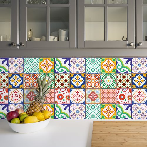 Walplus Classic Mediterranean Colourful Tile Sticker 1 - Multicolour - 15x15 cm - 24 pieces