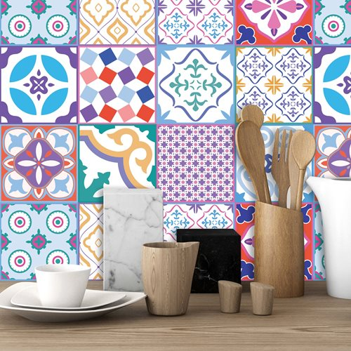 Walplus Classic Moroccan Colourful Tile Sticker 1 - Multicolour - 15x15 cm - 24 pieces