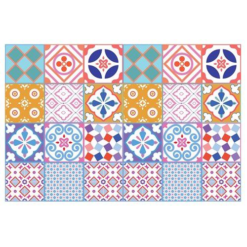 Walplus Classic Moroccan Colourful Tile Sticker 2 - Multicolour - 15x15 cm - 24 pieces