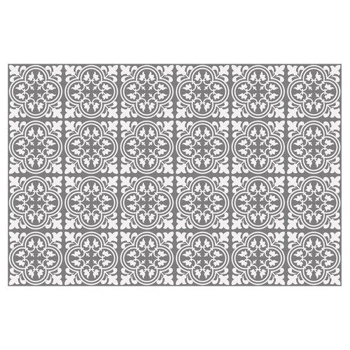 Walplus Antiek Tulpen Patroon Tegelsticker - Grijs/Wit - 15x15 cm - 24 stuks
