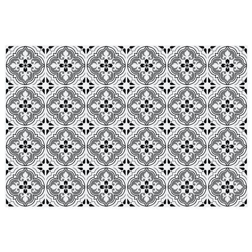 Walplus Antique Floral Tile Sticker - Black/Grey/White - 15x15 cm - 24 pieces