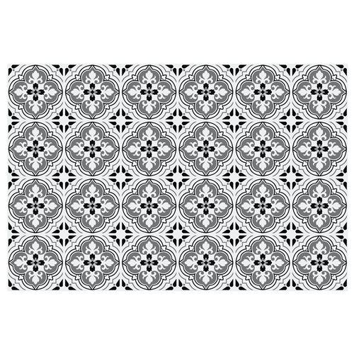 Walplus Antiek Bloemen Patroon Tegelsticker - Zwart/Grijs/Wit - 15x15 cm - 24 stuks