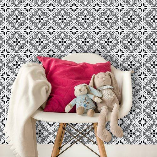 Walplus Antique Floral Tile Sticker - Black/Grey/White - 15x15 cm - 24 pieces