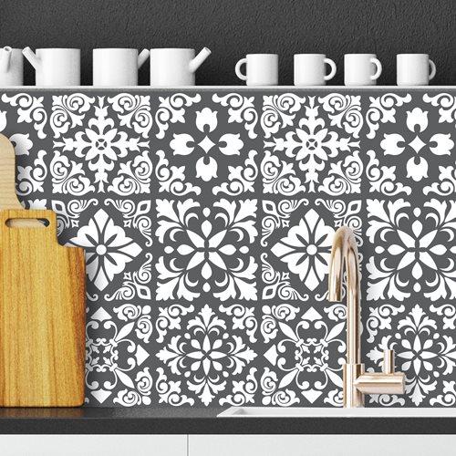 Walplus Spanish Renaissance Tile Sticker - Dark Grey/White - 15x15 cm - 24 pieces