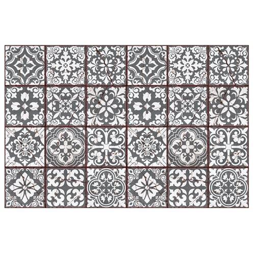 Walplus Vintage Gebarsten Design Tegelsticker - Donkergrijs/Wit/Rood - 15x15 cm - 24 stuks