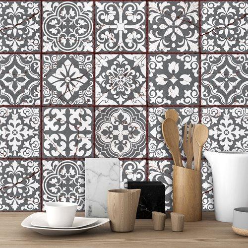 Walplus Vintage Cracked Design Tile Sticker - Dark Grey/White/Red - 15x15 cm - 24 pieces