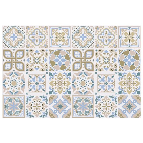 Walplus Traditional Spanish Tile Sticker - Brown/Blue/White - 15x15 cm - 24 pieces
