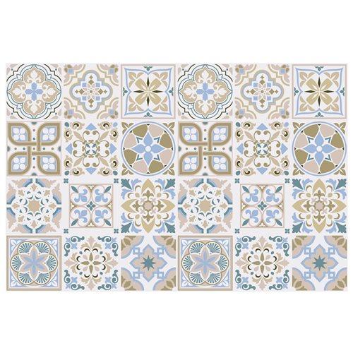 Walplus Traditionele Spaanse Tegelsticker - Bruin/Blauw/Wit - 15x15 cm - 24 stuks