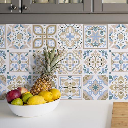 Walplus Traditional Spanish Tile Sticker - Brown/Blue/White - 15x15 cm - 24 pieces
