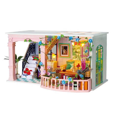 Robotime Sweet Patio DGF01 - Wooden Model Kit - Dollhouse with LED Light - DIY