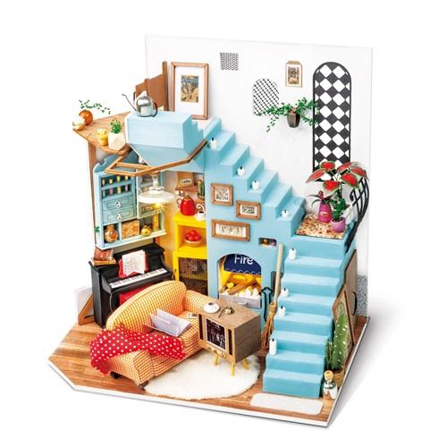 Robotime Joy's Peninsula Living Room DG141 - Wooden Model Kit - Dollhouse with LED Light - DIY