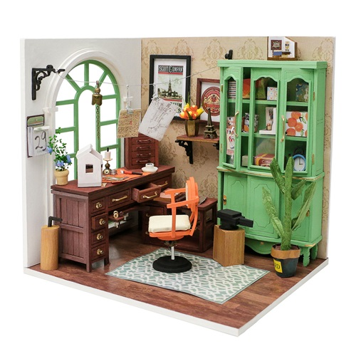 Robotime Jimmy's Studio DGM07 - Wooden Model Kit - Dollhouse with LED Light - DIY