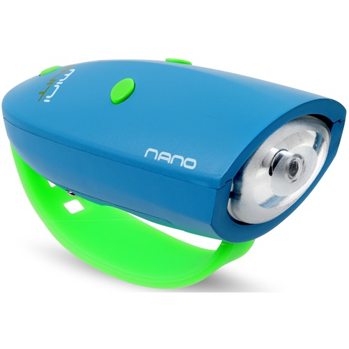 Mini Hornit NANO - Bicycle light with Sound effects - Blue/Green