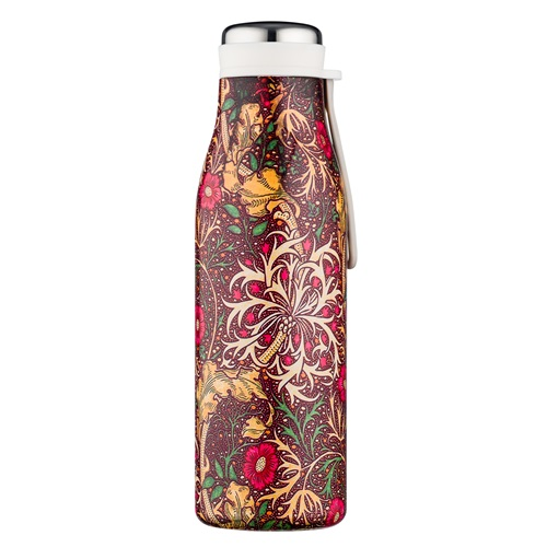 Ecoffee Cup Seaweed - Hot/Cold Vacuum Bottle - 500 ml - William Morris - Dark Red