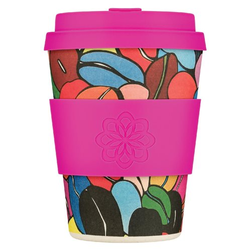 Ecoffee Cup Colour Café - Bamboo Cup - 350 ml - Project Waterfall - with Fuchsia Silicone