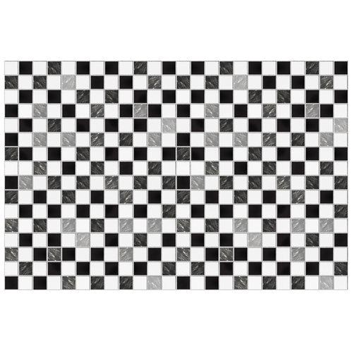 Walplus Marmeren Mozaïek Tegelsticker - Zwart/Wit - 15x15 cm - 24 stuks