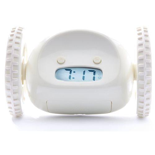 Clocky Alarm Clock on Wheels - White