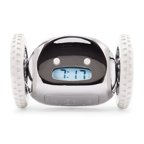 Clocky Alarm Clock on Wheels - Chrome