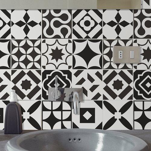 Walplus Ross Tile Sticker - Black/White - 15x15 cm - 24 pieces