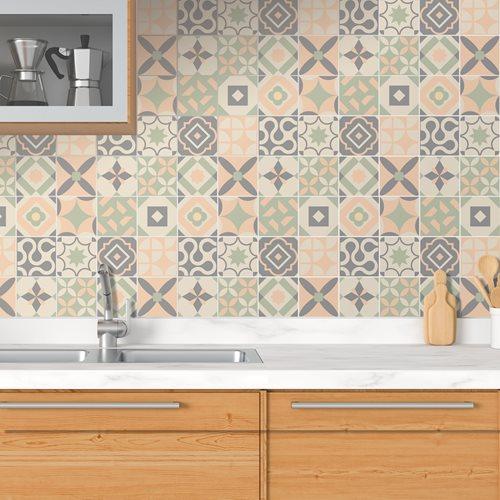 Walplus Kansas Baby Tile Sticker - Dark Grey/Green/Orange - 15x15 cm - 24 pieces