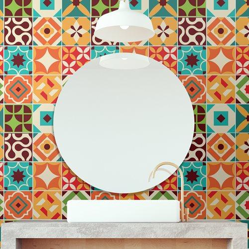Walplus Ziggy Colourful Retro Tile Sticker - Multicolour - 15x15 cm - 24 pieces