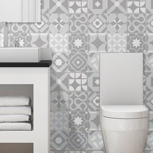Walplus Campbell Retro Tile Sticker - Grey/Light Grey - 15x15 cm - 24 pieces