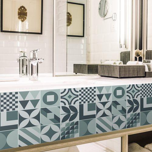 Walplus Melvin Geometric Retro Tile Sticker - Blue - 15x15 cm - 24 pieces