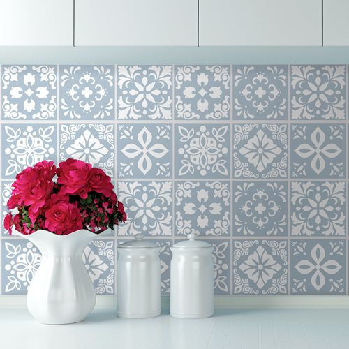 Walplus Triana Cement Spanish Tile Sticker - Light Blue/White - 15x15 cm - 24 pieces