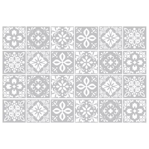 Walplus Andalu Cement Spaanse Tegelsticker - Lichtgrijs/Wit - 15x15 cm - 24 stuks