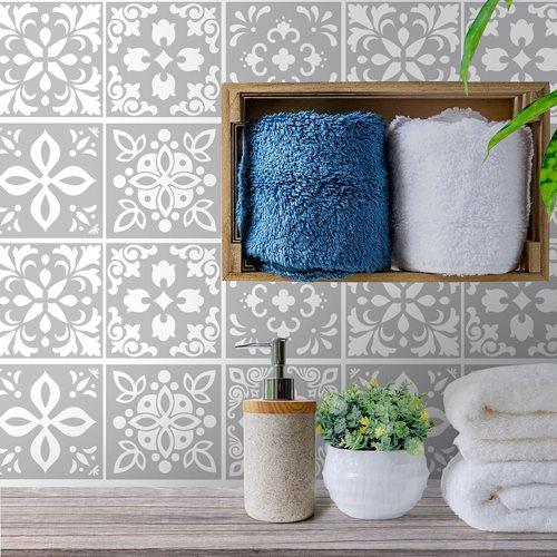Walplus Andalu Cement Spanish Tile Sticker - Light Grey/White - 15x15 cm - 24 pieces