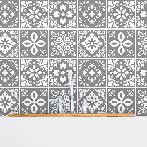Walplus Banus Cement Spanish Tile Sticker - Dark Grey/White - 15x15 cm - 24 pieces