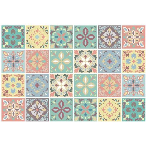 Walplus Marbella Colourful Spanish Tile Sticker - Multicolour - 15x15 cm - 24 pieces