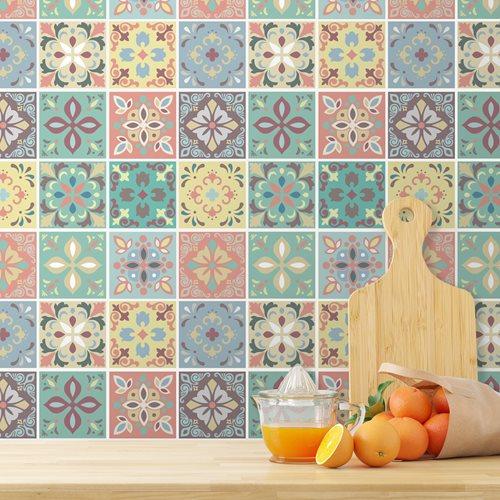 Walplus Marbella Kleurrijke Spaanse Tegelsticker - Multikleur - 15x15 cm - 24 stuks