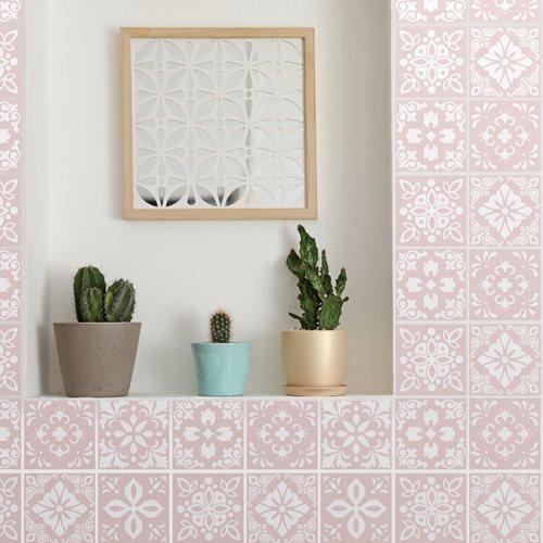 Walplus Sevilla Spanish Tile Sticker - Light Pink/White - 15x15 cm - 24 pieces