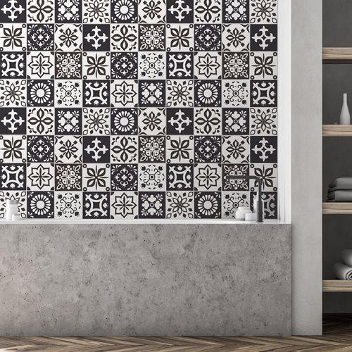 Walplus Marjorelle Marokkanisch Fliesenaufkleber - Schwarz/Weiß - 15x15 cm - 24 Stücke