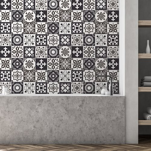 Walplus Marjorelle Moroccan Tile Sticker - Anthracite/White - 15x15 cm - 24 pieces