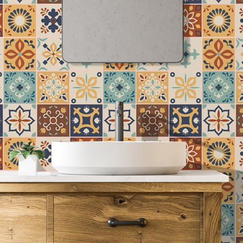 Walplus Jama Moroccan Tile Sticker - Brown/Blue/White - 15x15 cm - 24 pieces