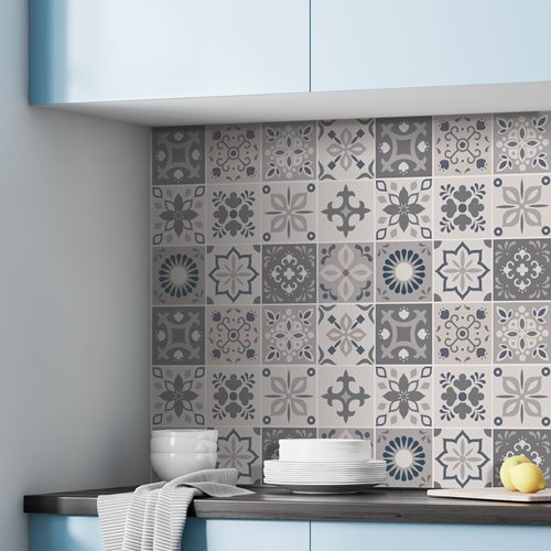 Walplus Palace Moroccan Tile Sticker - Dark Grey/Grey/Blue - 15x15 cm - 24 pieces