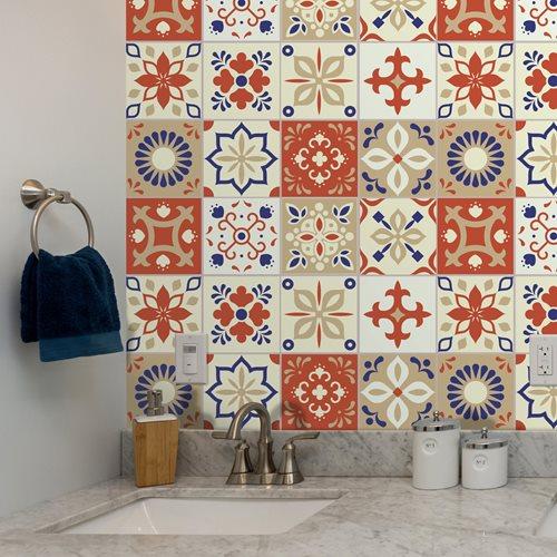 Walplus Bahia Burnt Marokkanisch Fliesenaufkleber - Blau/Hellblau - 15x15 cm - 24 Stücke
