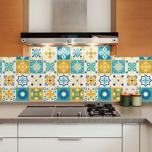 Walplus Temara Marokkanisch Fliesenaufkleber - Blau/Gelb/Weiß - 15x15 cm - 24 Stücke