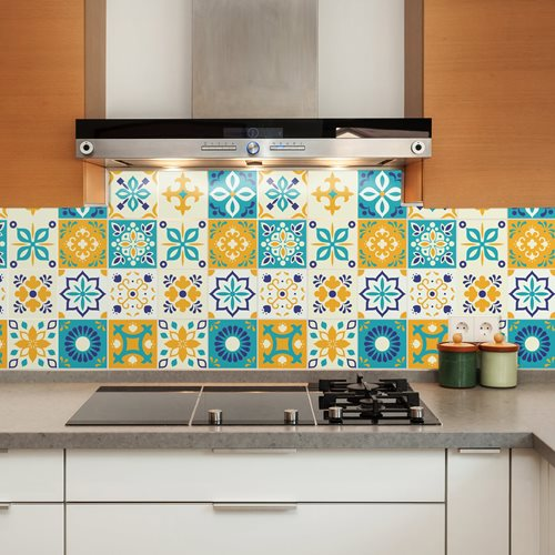 Walplus Temara Moroccan Tile Sticker - Blue/Yellow/White - 15x15 cm - 24 pieces