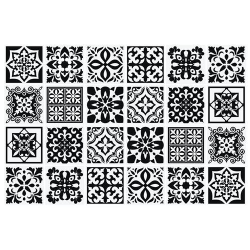 Walplus Calli Mediterranean Tile Sticker - Black/White - 15x15 cm - 24 pieces