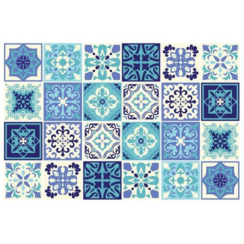 Walplus Daliah Mediterranean Tile Sticker - Dark Blue/Blue/White - 15x15 cm - 24 pieces
