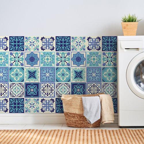 Walplus Daliah Mediterran Fliesenaufkleber - Dunkelblau/Blau/Weiß - 15x15 cm - 24 Stücke