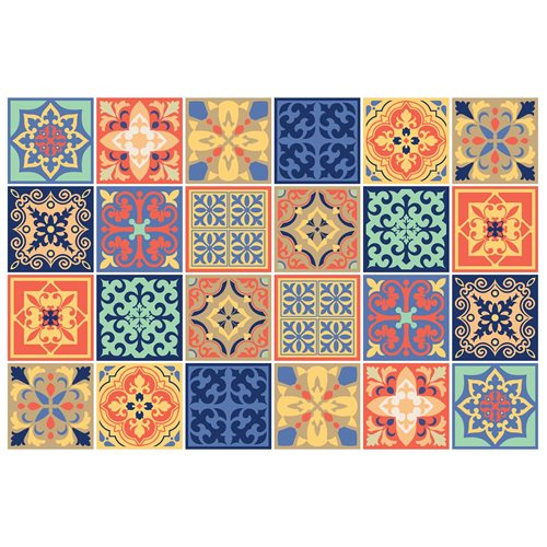 Walplus Mara Colourful Mediterranean Tile Sticker - Multicolour - 15x15 cm - 24 pieces