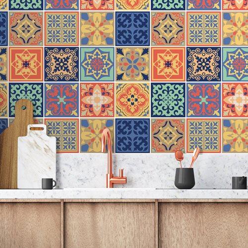 Walplus Mara Kleurrijke Mediterraans Tegelsticker - Multikleur - 15x15 cm - 24 stuks