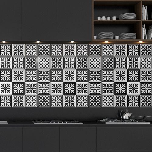 Walplus Emma Monochromatic Victorian Tile Sticker - Black/White - 15x15 cm - 24 pieces