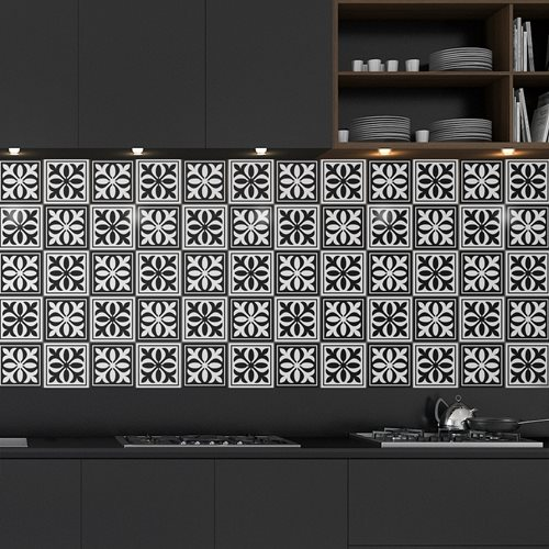 Walplus Emma Monochromatische Victorian Fliesenaufkleber - Schwarz/Weiß - 15x15 cm - 24 Stücke