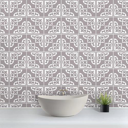 Walplus Audley Monochromatic Victorian Tile Sticker - Grey/White - 15x15 cm - 24 pieces