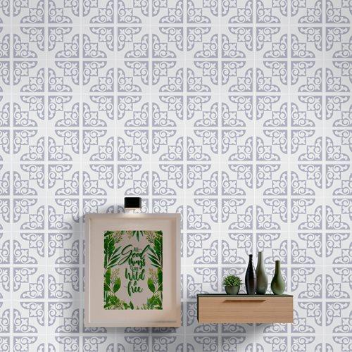 Walplus Osborne Monochromatic Victorian Tile Sticker - Light Grey/White - 15x15 cm - 24 pieces